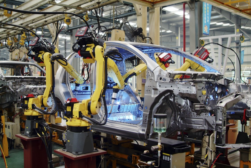 Automotive welding robots in Chinese car factory